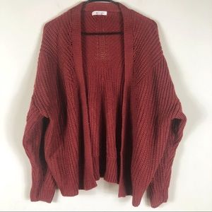 LA Hearts Burgundy Knit Open Front Cardigan